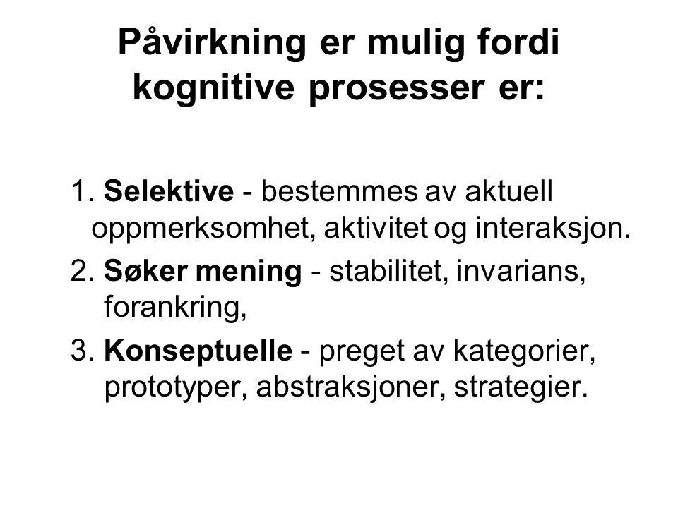 Påvirkning er mulig fordi kognitive prosesser er: 1. Selektive - bestemmes av aktuell oppmerksomhet, aktivitet og interaksjon. 2. Søker mening - stabi