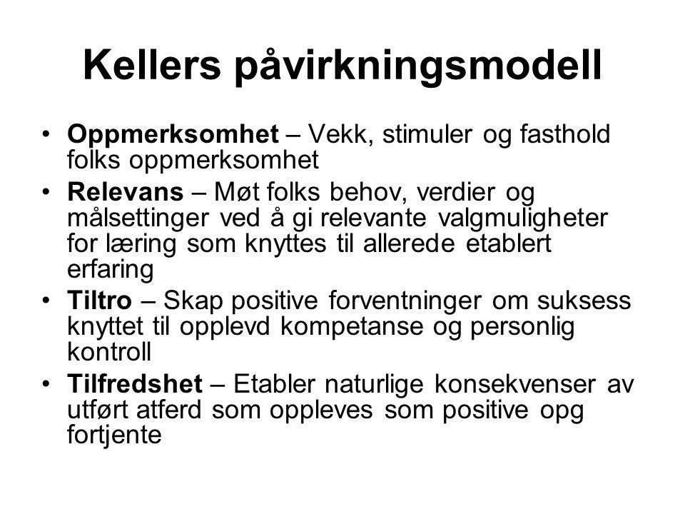 Kellers påvirkningsmodell Oppmerksomhet – Vekk, stimuler og fasthold folks oppmerksomhet Relevans – Møt folks behov, verdier og målsettinger ved å gi