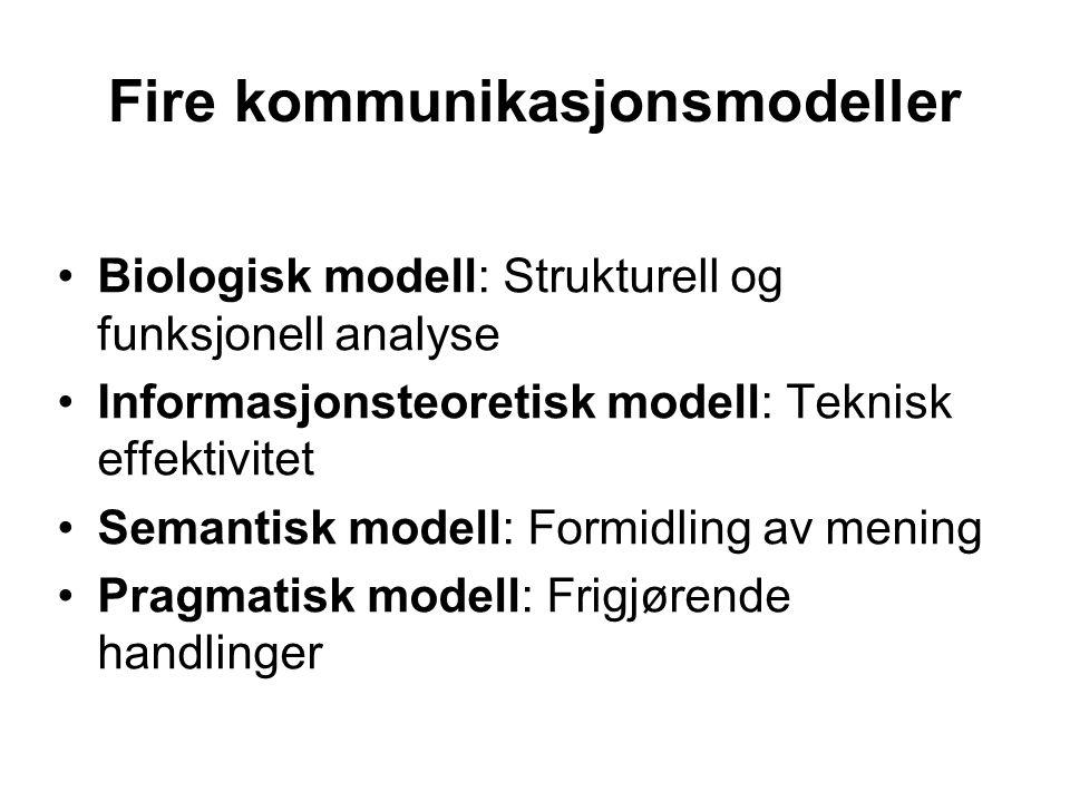 Fire kommunikasjonsmodeller Biologisk modell: Strukturell og funksjonell analyse Informasjonsteoretisk modell: Teknisk effektivitet Semantisk modell: Formidling av mening Pragmatisk modell: Frigjørende handlinger
