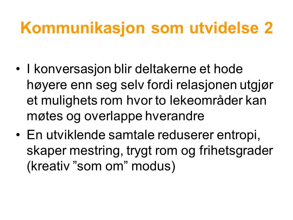 Kommunikasjon som utvidelse 2 I konversasjon blir deltakerne et hode høyere enn seg selv fordi relasjonen utgjør et mulighets rom hvor to lekeområder kan møtes og overlappe hverandre En utviklende samtale reduserer entropi, skaper mestring, trygt rom og frihetsgrader (kreativ som om modus)
