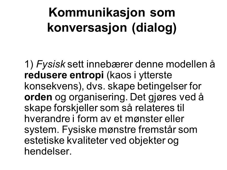 Kommunikasjon som konversasjon (dialog) 1) Fysisk sett innebærer denne modellen å redusere entropi (kaos i ytterste konsekvens), dvs.