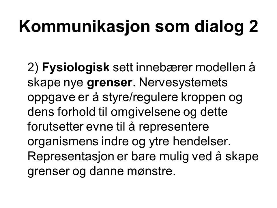 Kommunikasjon som dialog 2 2) Fysiologisk sett innebærer modellen å skape nye grenser. Nervesystemets oppgave er å styre/regulere kroppen og dens forh