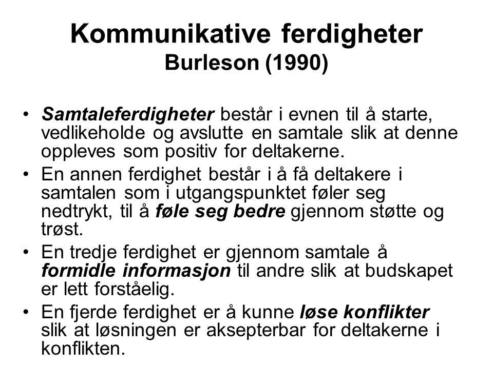Kommunikative ferdigheter Burleson (1990) Samtaleferdigheter består i evnen til å starte, vedlikeholde og avslutte en samtale slik at denne oppleves s