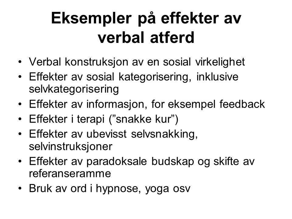 Eksempler på effekter av verbal atferd Verbal konstruksjon av en sosial virkelighet Effekter av sosial kategorisering, inklusive selvkategorisering Ef