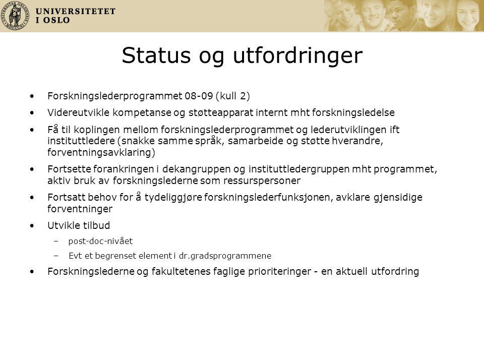 Status og utfordringer Forskningslederprogrammet 08-09 (kull 2) Videreutvikle kompetanse og støtteapparat internt mht forskningsledelse Få til kopling