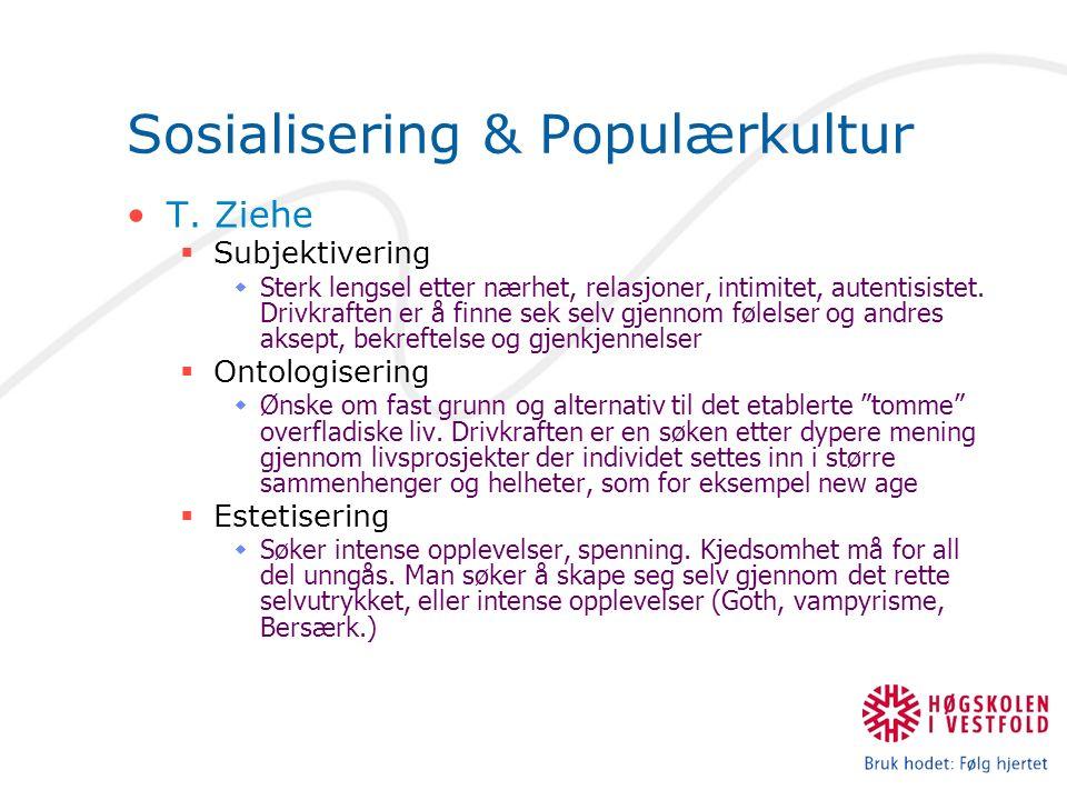 Sosialisering & Populærkultur T. Ziehe  Subjektivering  Sterk lengsel etter nærhet, relasjoner, intimitet, autentisistet. Drivkraften er å finne sek