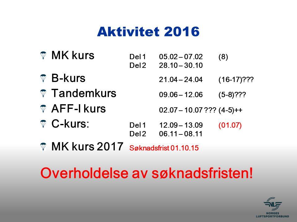 Aktivitet 2016 MK kurs Del 105.02 – 07.02 (8) Del 228.10 – 30.10 B-kurs 21.04 – 24.04(16-17) .
