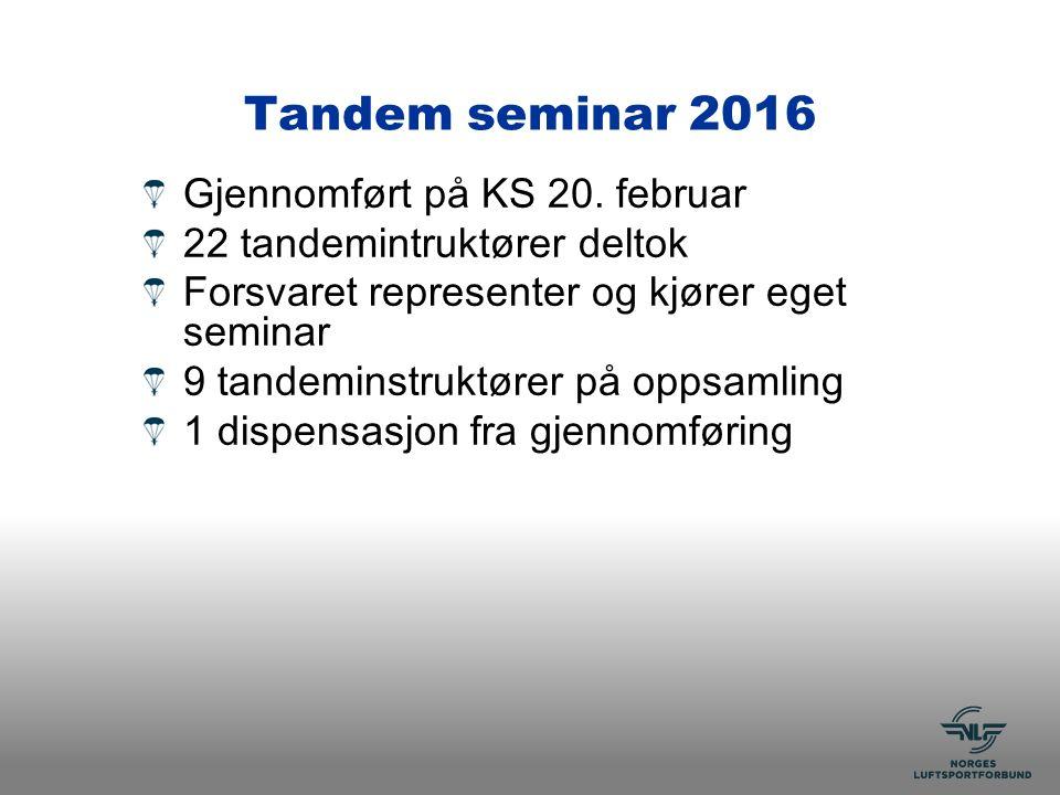Tandem seminar 2016 Gjennomført på KS 20.