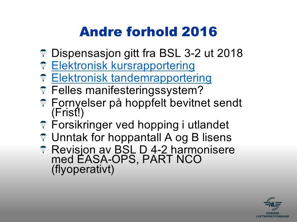 Andre forhold 2016 Dispensasjon gitt fra BSL 3-2 ut 2018 Elektronisk kursrapportering Elektronisk tandemrapportering Felles manifesteringssystem.