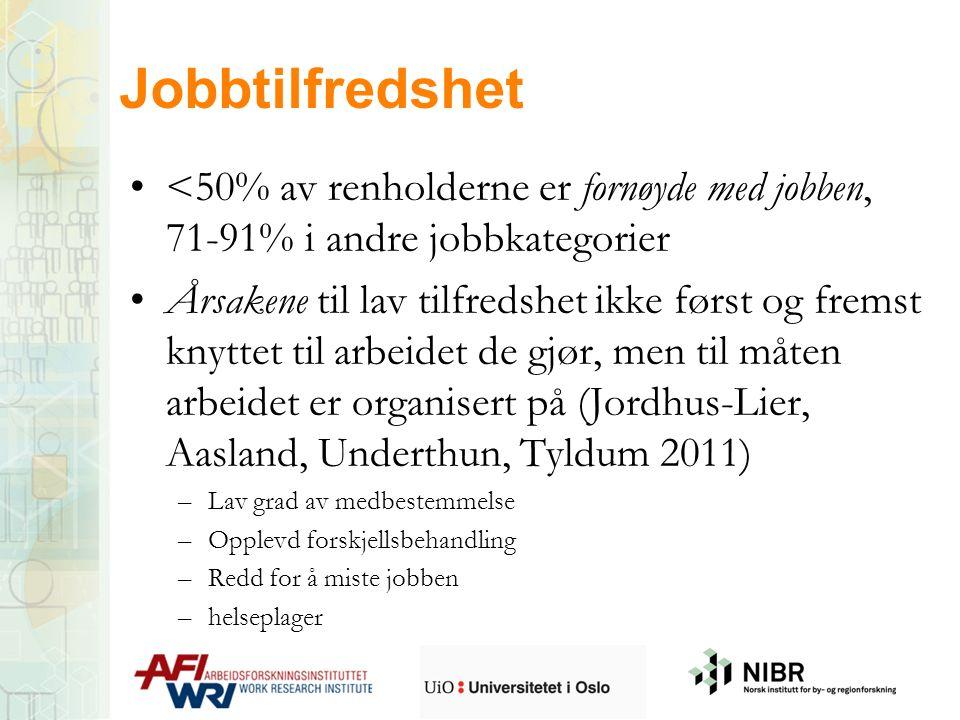 <50% av renholderne er fornøyde med jobben, 71-91% i andre jobbkategorier Årsakene til lav tilfredshet ikke først og fremst knyttet til arbeidet de gj