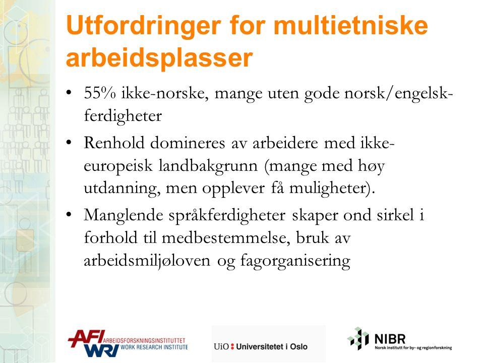 Utfordringer for multietniske arbeidsplasser 55% ikke-norske, mange uten gode norsk/engelsk- ferdigheter Renhold domineres av arbeidere med ikke- euro