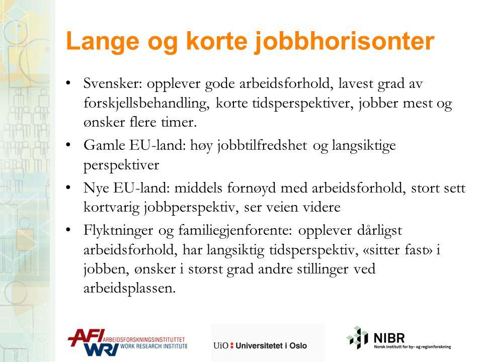 Lange og korte jobbhorisonter Svensker: opplever gode arbeidsforhold, lavest grad av forskjellsbehandling, korte tidsperspektiver, jobber mest og ønsk
