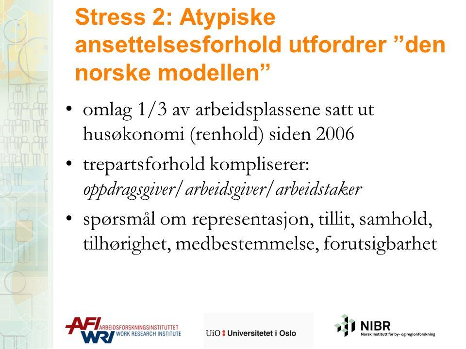 """Stress 2: Atypiske ansettelsesforhold utfordrer """"den norske modellen"""" omlag 1/3 av arbeidsplassene satt ut husøkonomi (renhold) siden 2006 trepartsfor"""