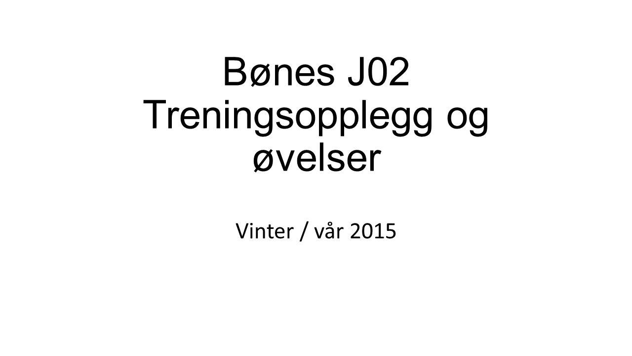 Bønes J02 Treningsopplegg og øvelser Vinter / vår 2015