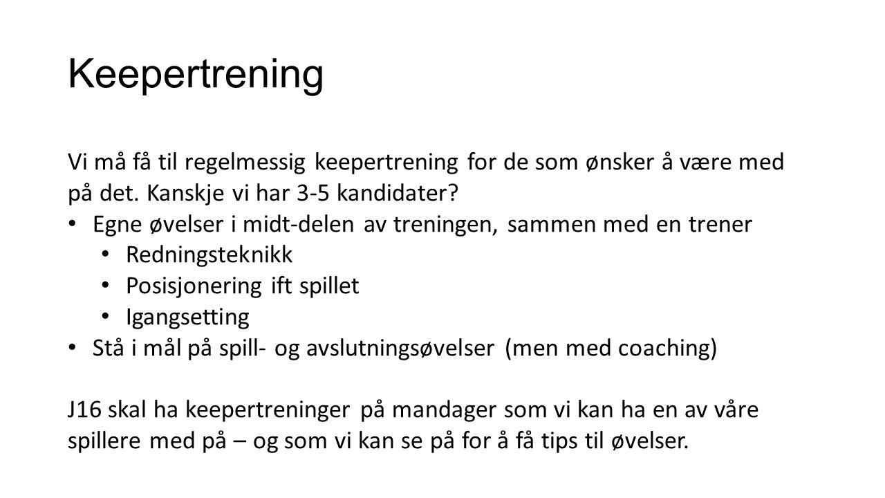 Keepertrening Vi må få til regelmessig keepertrening for de som ønsker å være med på det.