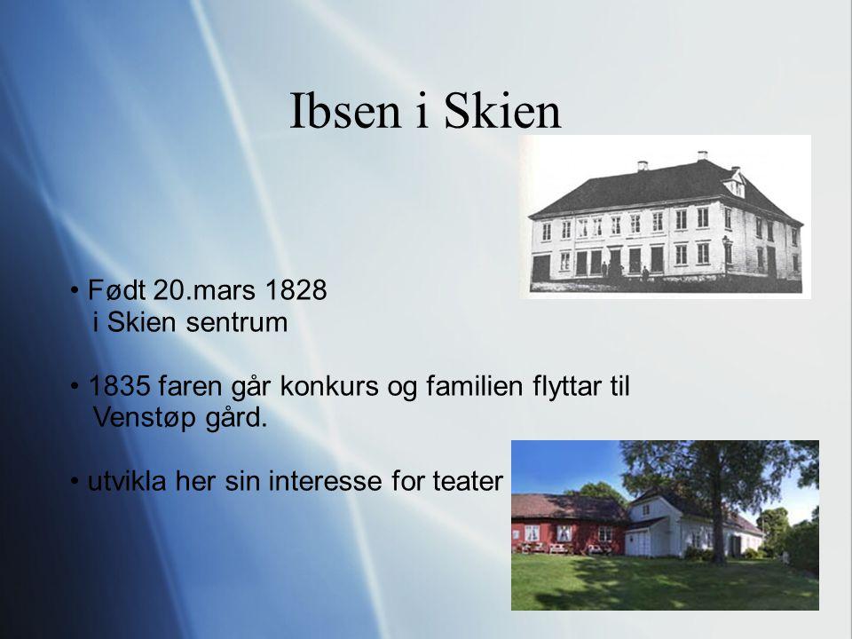 Ibsen i Skien Født 20.mars 1828 i Skien sentrum 1835 faren går konkurs og familien flyttar til Venstøp gård.