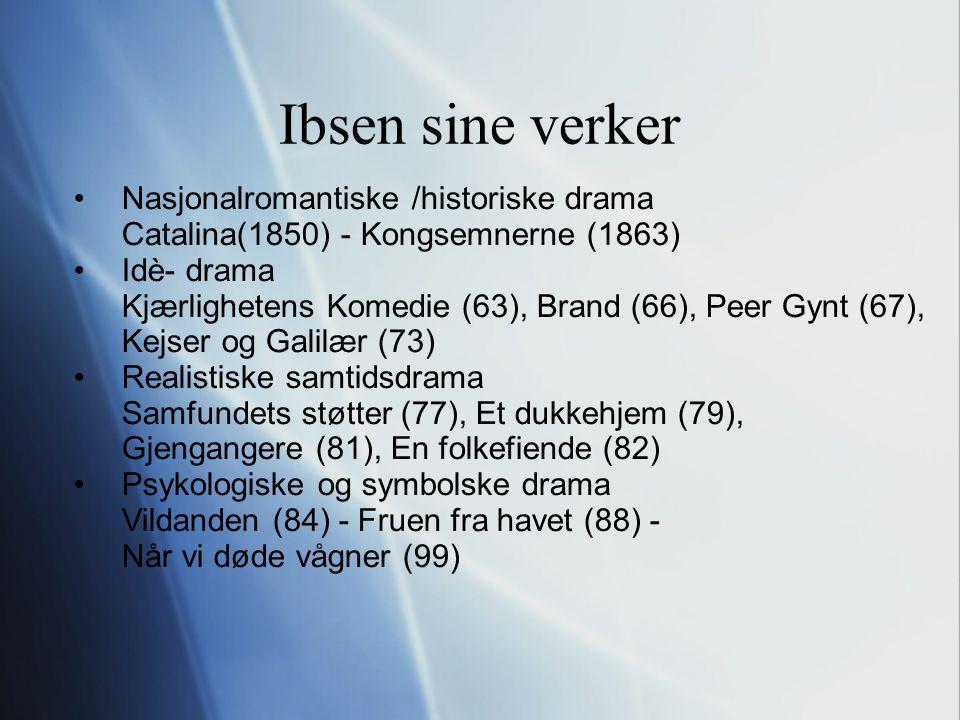 Ibsen sine verker Nasjonalromantiske /historiske drama Catalina(1850) - Kongsemnerne (1863) Idè- drama Kjærlighetens Komedie (63), Brand (66), Peer Gynt (67), Kejser og Galilær (73) Realistiske samtidsdrama Samfundets støtter (77), Et dukkehjem (79), Gjengangere (81), En folkefiende (82) Psykologiske og symbolske drama Vildanden (84) - Fruen fra havet (88) - Når vi døde vågner (99)