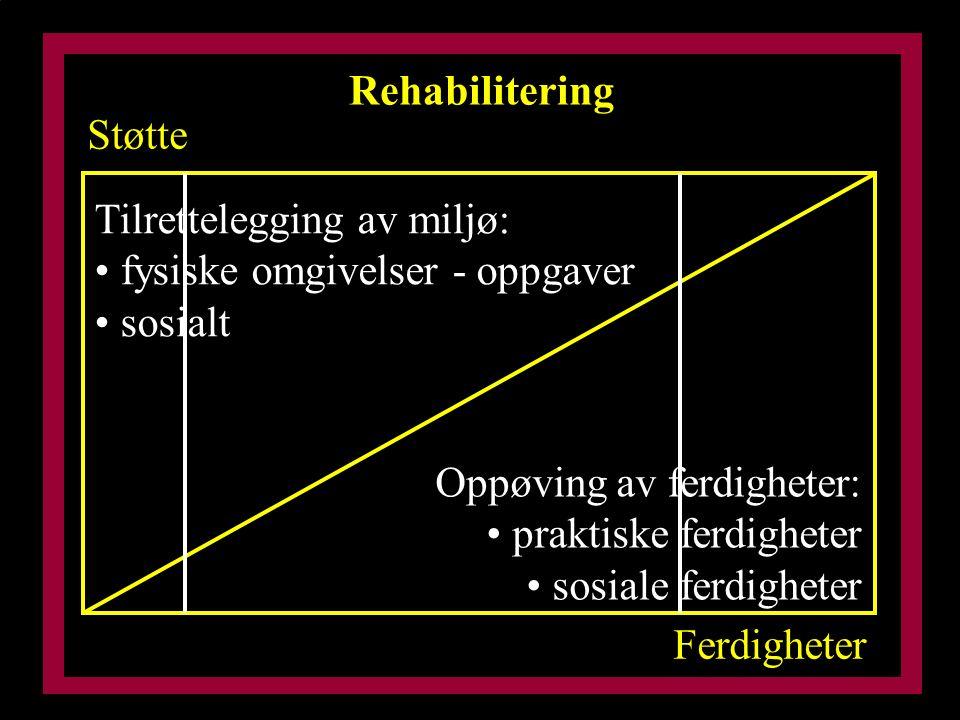 Rehabilitering Støtte Ferdigheter Tilrettelegging av miljø: fysiske omgivelser - oppgaver sosialt Oppøving av ferdigheter: praktiske ferdigheter sosiale ferdigheter