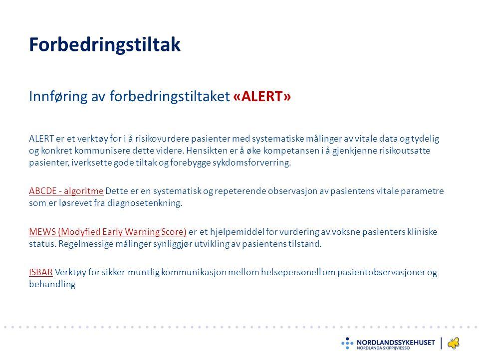 Innføring av forbedringstiltaket «ALERT» Forbedringstiltak ALERT er et verktøy for i å risikovurdere pasienter med systematiske målinger av vitale data og tydelig og konkret kommunisere dette videre.