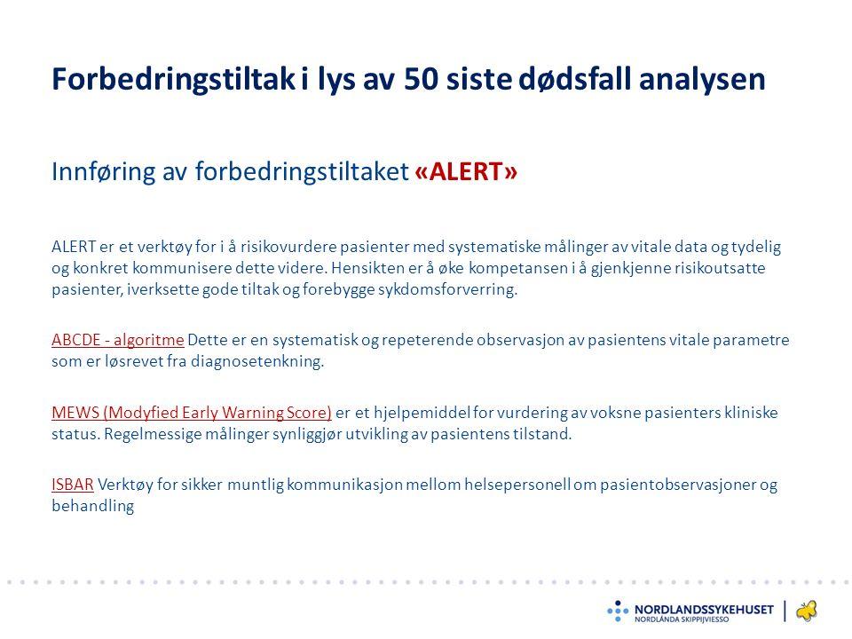 Innføring av forbedringstiltaket «ALERT» Forbedringstiltak i lys av 50 siste dødsfall analysen ALERT er et verktøy for i å risikovurdere pasienter med systematiske målinger av vitale data og tydelig og konkret kommunisere dette videre.