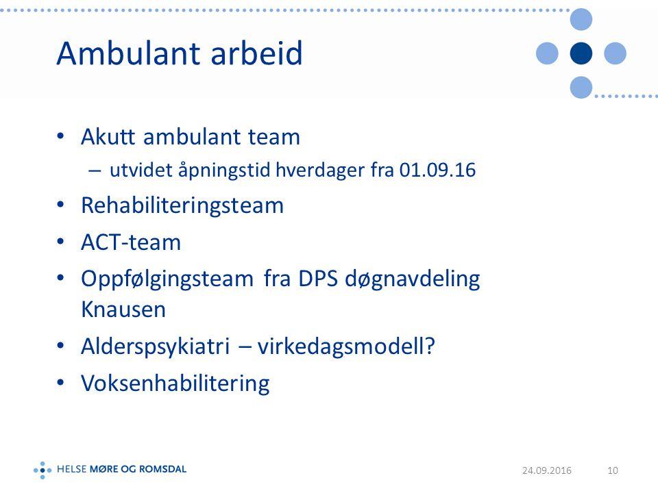 Ambulant arbeid Akutt ambulant team – utvidet åpningstid hverdager fra 01.09.16 Rehabiliteringsteam ACT-team Oppfølgingsteam fra DPS døgnavdeling Knausen Alderspsykiatri – virkedagsmodell.