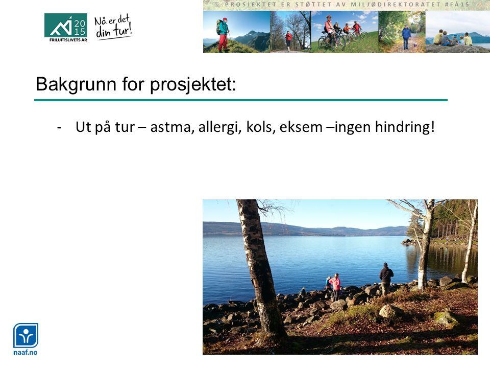Bakgrunn for prosjektet: -Ut på tur – astma, allergi, kols, eksem –ingen hindring!