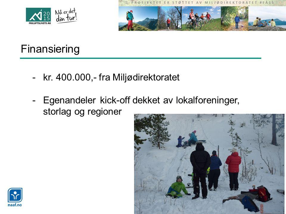 Finansiering -kr. 400.000,- fra Miljødirektoratet -Egenandeler kick-off dekket av lokalforeninger, storlag og regioner