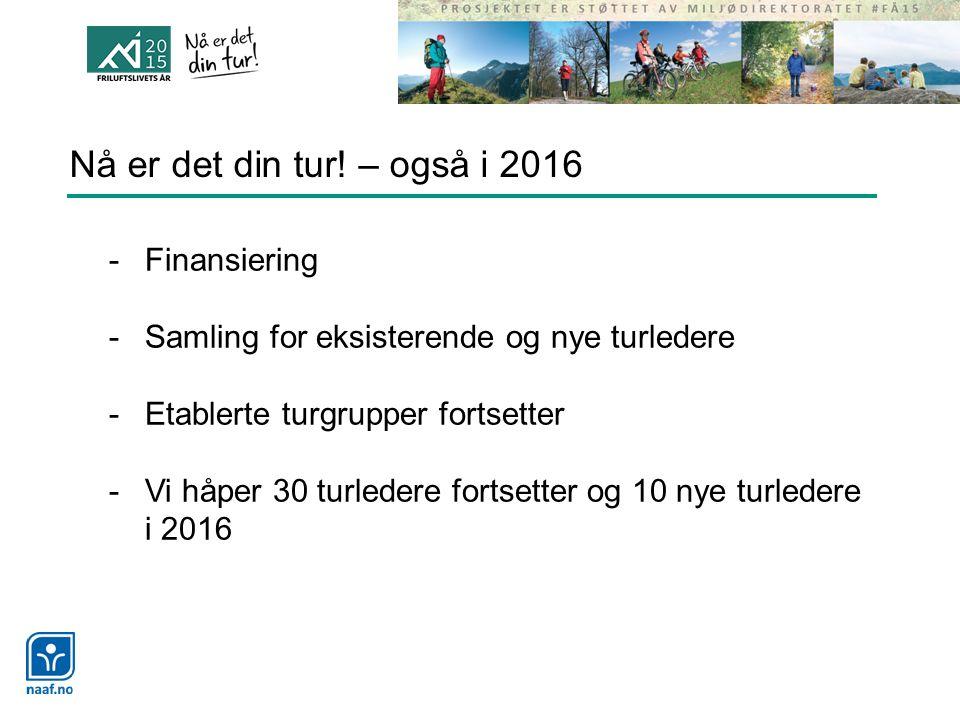 Nå er det din tur! – også i 2016 -Finansiering -Samling for eksisterende og nye turledere -Etablerte turgrupper fortsetter -Vi håper 30 turledere fort