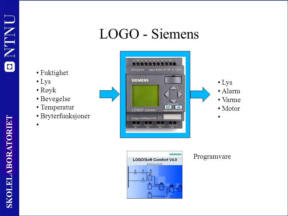 14 SKOLELABORATORIET LOGO - Siemens Behandling av informasjon Fuktighet Lys Røyk Bevegelse Temperatur Bryterfunksjoner Lys Alarm Varme Motor Programvare