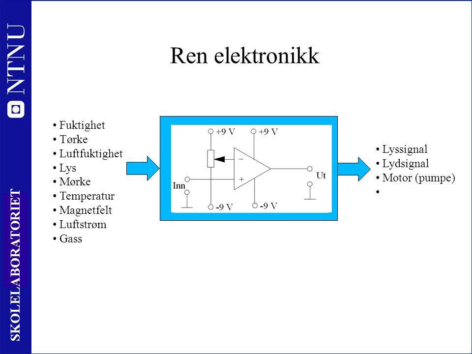 17 SKOLELABORATORIET Ren elektronikk Behandling av informasjon Fuktighet Tørke Luftfuktighet Lys Mørke Temperatur Magnetfelt Luftstrøm Gass Lyssignal Lydsignal Motor (pumpe)