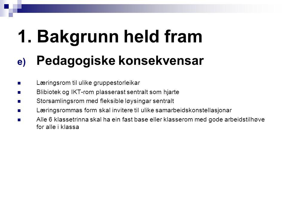 1. Bakgrunn held fram e) Pedagogiske konsekvensar Læringsrom til ulike gruppestorleikar Blibiotek og IKT-rom plasserast sentralt som hjarte Storsamlin