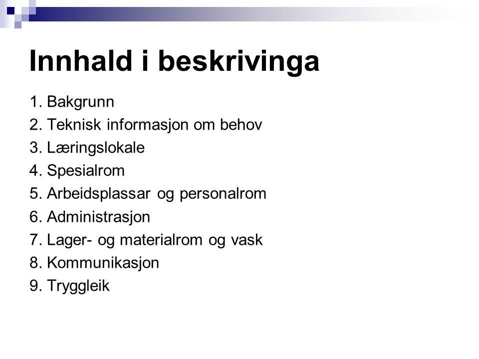 1. Bakgrunn 2. Teknisk informasjon om behov 3. Læringslokale 4.