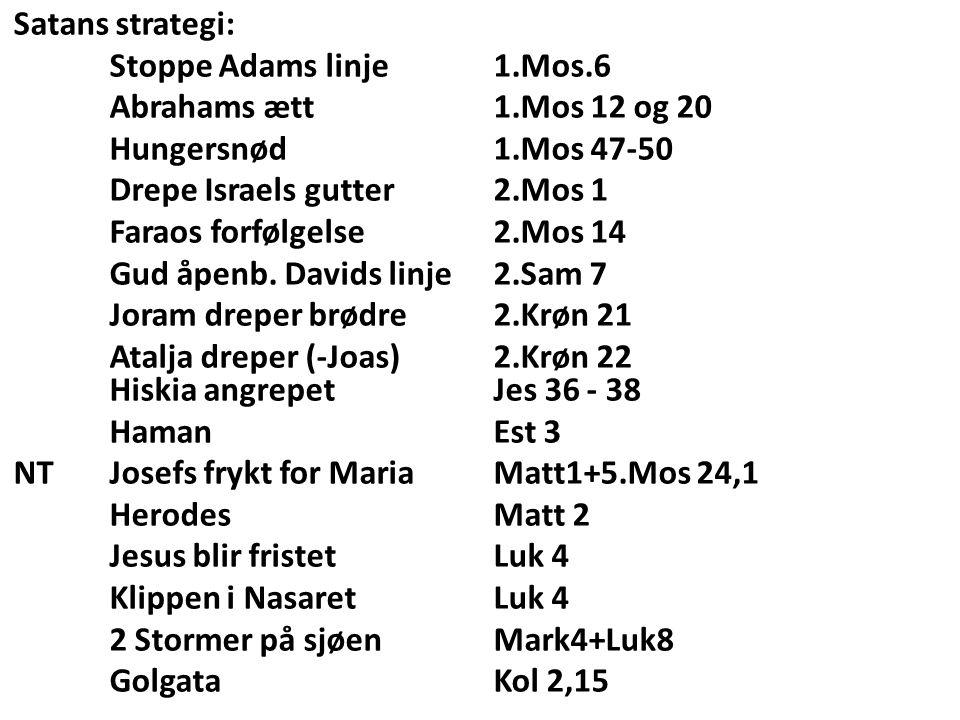 Satans strategi: Stoppe Adams linje 1.Mos.6 Abrahams ætt1.Mos 12 og 20 Hungersnød 1.Mos 47-50 Drepe Israels gutter2.Mos 1 Faraos forfølgelse2.Mos 14 Gud åpenb.