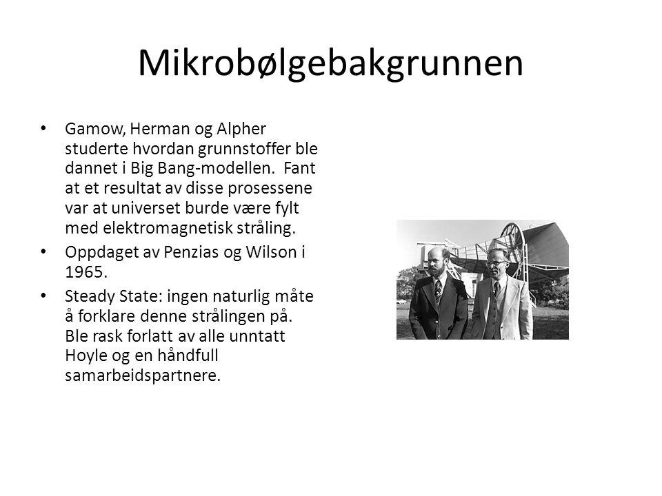 Mikrobølgebakgrunnen Gamow, Herman og Alpher studerte hvordan grunnstoffer ble dannet i Big Bang-modellen.