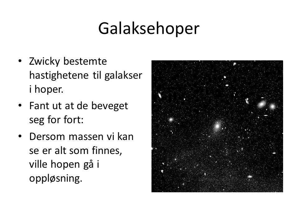 Galaksehoper Zwicky bestemte hastighetene til galakser i hoper.