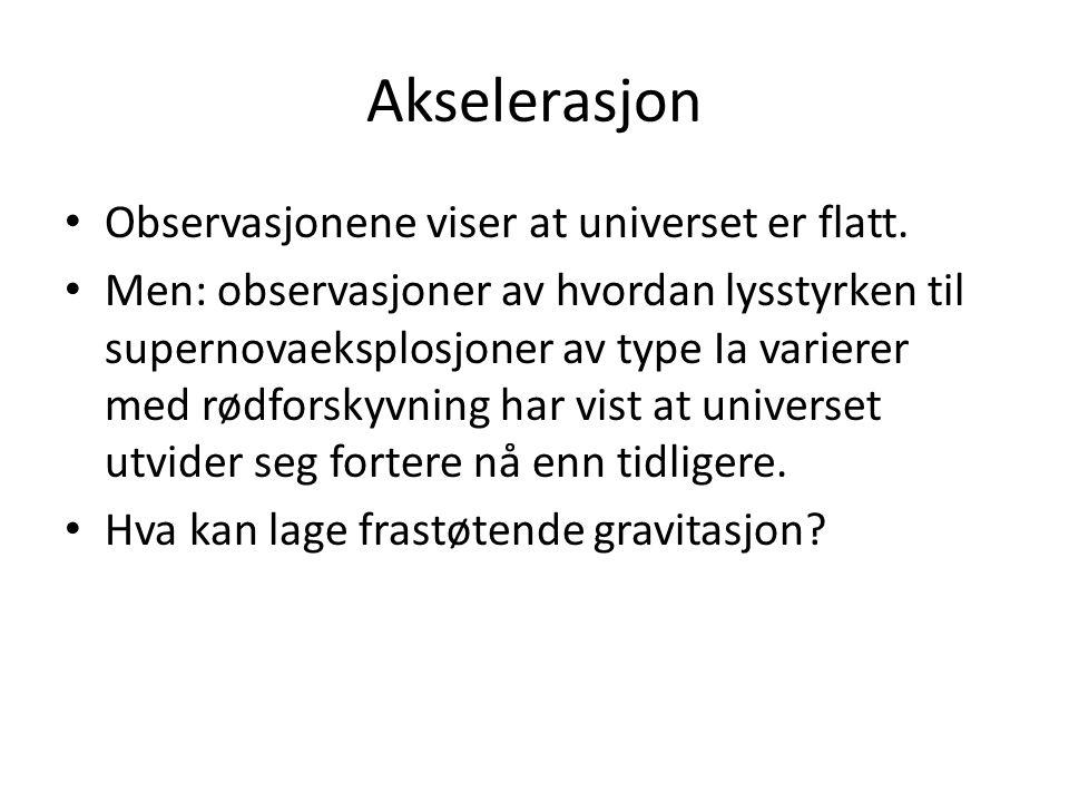 Akselerasjon Observasjonene viser at universet er flatt.