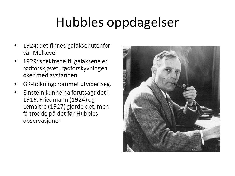 Hubbles oppdagelser 1924: det finnes galakser utenfor vår Melkevei 1929: spektrene til galaksene er rødforskjøvet, rødforskyvningen øker med avstanden GR-tolkning: rommet utvider seg.