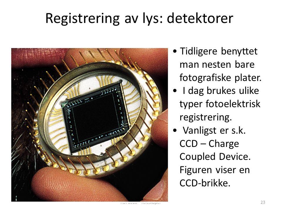 AST1010 - Teleskoper23 Registrering av lys: detektorer Tidligere benyttet man nesten bare fotografiske plater.