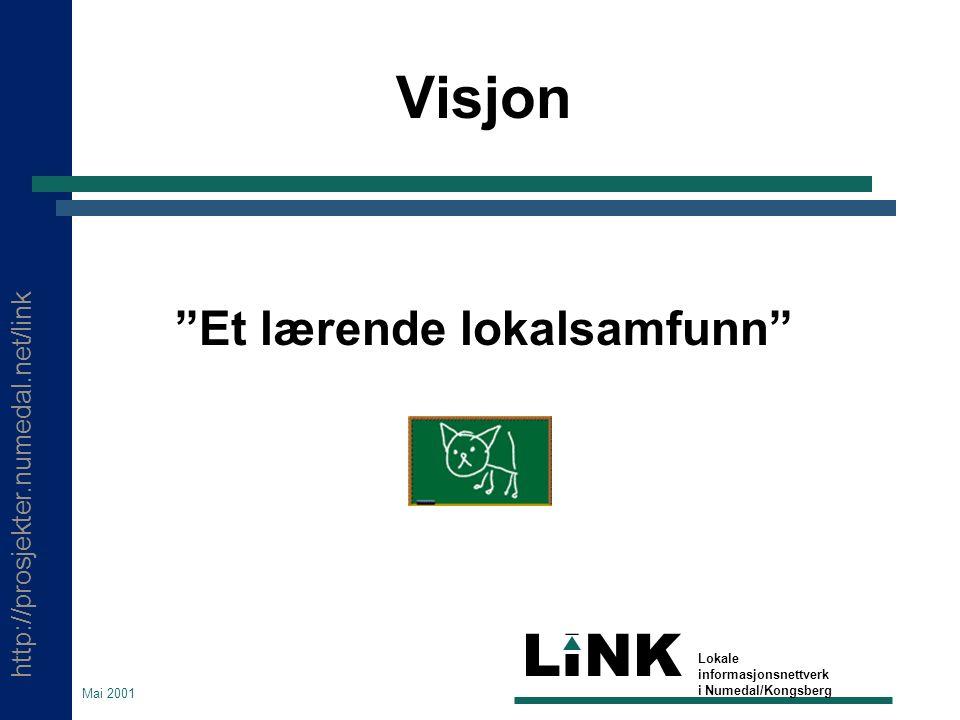 """http://prosjekter.numedal.net/link LINK Lokale informasjonsnettverk i Numedal/Kongsberg Mai 2001 Visjon """"Et lærende lokalsamfunn"""""""