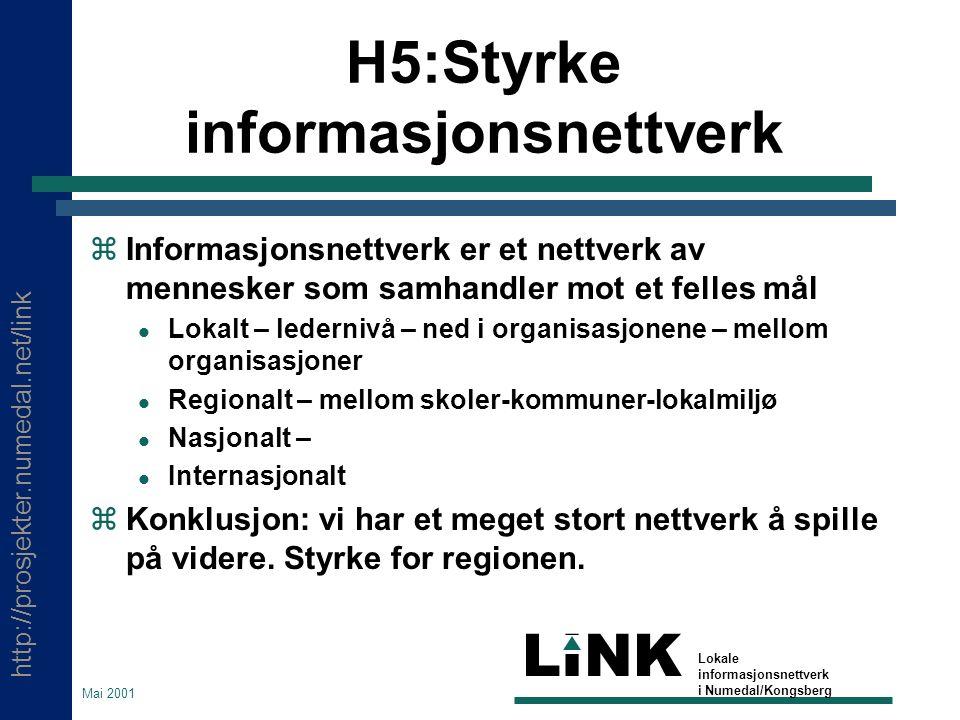 http://prosjekter.numedal.net/link LINK Lokale informasjonsnettverk i Numedal/Kongsberg Mai 2001 H5:Styrke informasjonsnettverk  Informasjonsnettverk