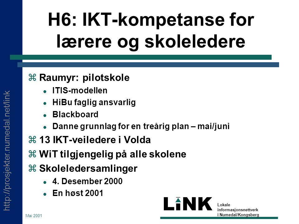 http://prosjekter.numedal.net/link LINK Lokale informasjonsnettverk i Numedal/Kongsberg Mai 2001 H6: IKT-kompetanse for lærere og skoleledere  Raumyr