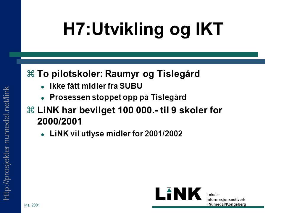 http://prosjekter.numedal.net/link LINK Lokale informasjonsnettverk i Numedal/Kongsberg Mai 2001 H7:Utvikling og IKT  To pilotskoler: Raumyr og Tisle