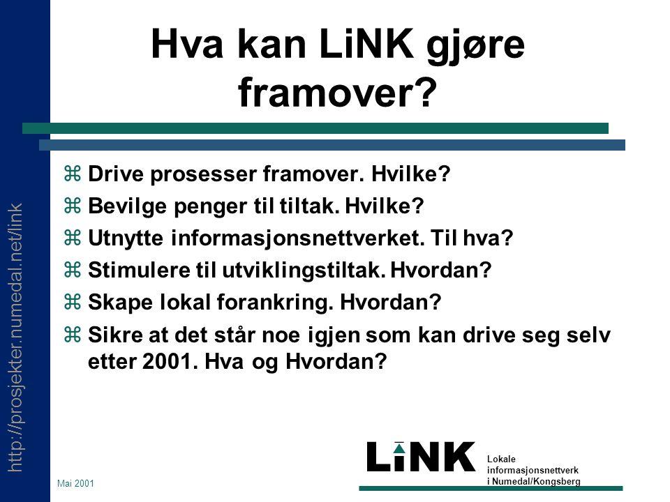 http://prosjekter.numedal.net/link LINK Lokale informasjonsnettverk i Numedal/Kongsberg Mai 2001 Hva kan LiNK gjøre framover?  Drive prosesser framov