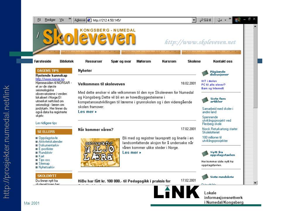 http://prosjekter.numedal.net/link LINK Lokale informasjonsnettverk i Numedal/Kongsberg Mai 2001