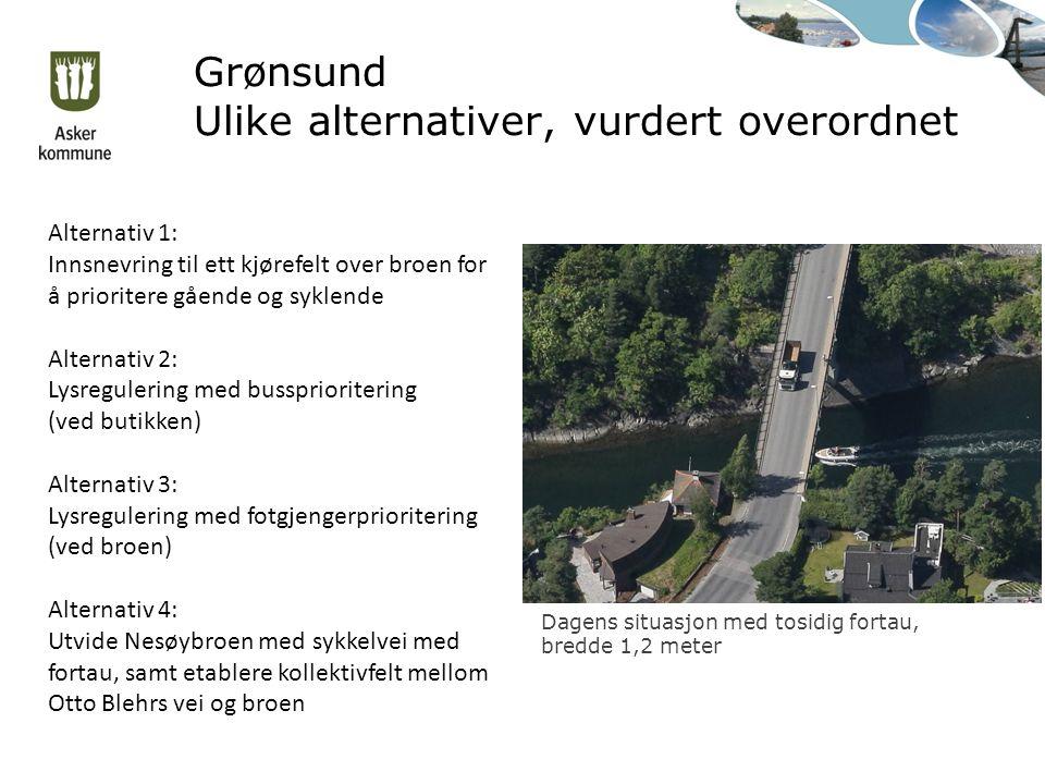 Grønsund Ulike alternativer, vurdert overordnet Dagens situasjon med tosidig fortau, bredde 1,2 meter Alternativ 1: Innsnevring til ett kjørefelt over