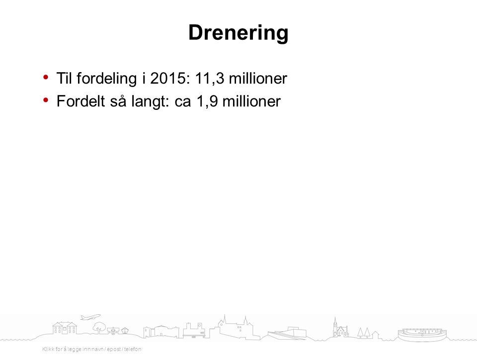 Til fordeling i 2015: 11,3 millioner Fordelt så langt: ca 1,9 millioner Drenering Klikk for å legge inn navn / epost / telefon