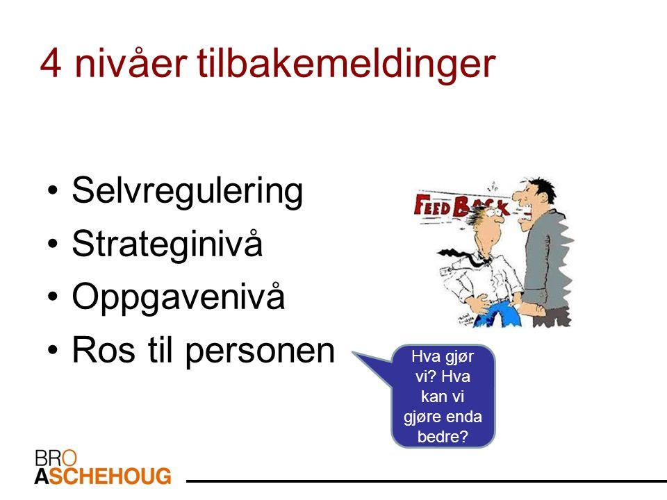4 nivåer tilbakemeldinger Selvregulering Strateginivå Oppgavenivå Ros til personen Hva gjør vi.