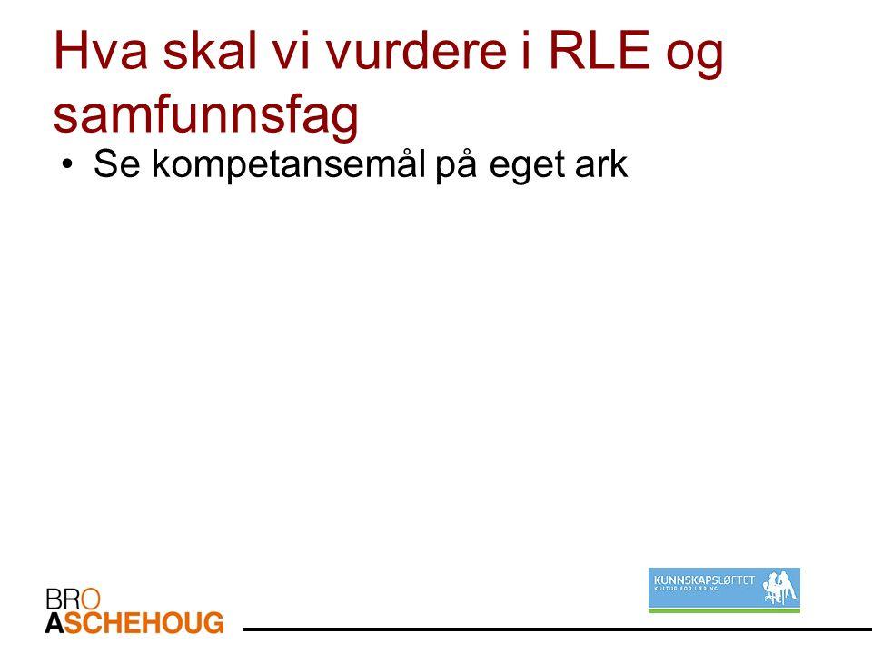 Hva skal vi vurdere i RLE og samfunnsfag Se kompetansemål på eget ark