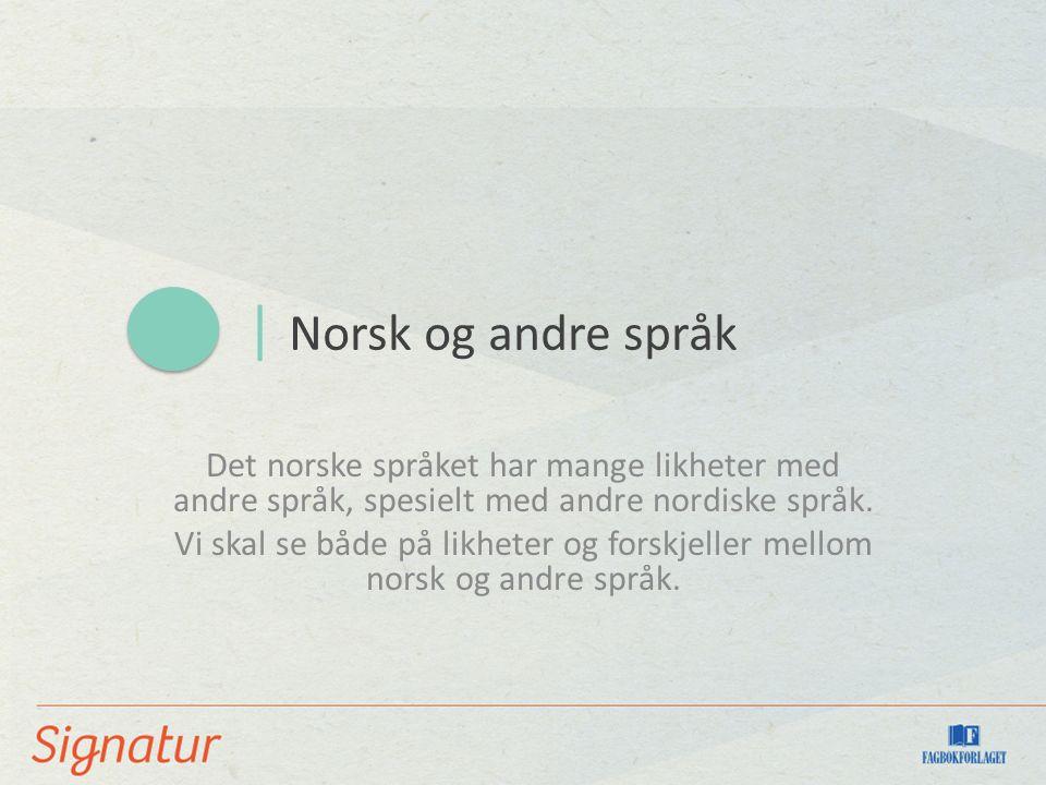 | Norsk og andre språk Det norske språket har mange likheter med andre språk, spesielt med andre nordiske språk. Vi skal se både på likheter og forskj