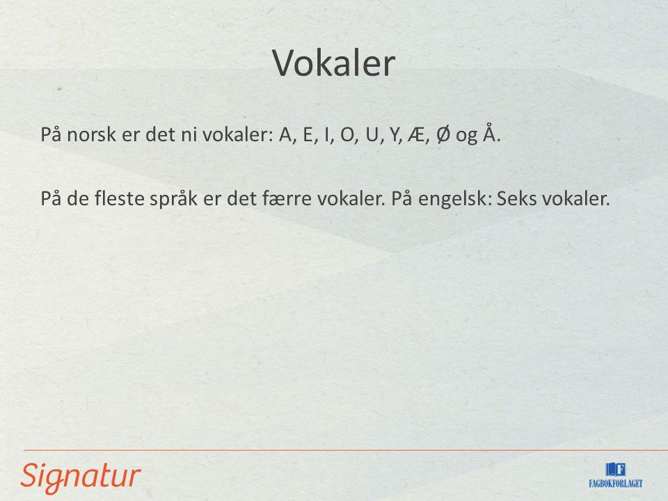 Vokaler På norsk er det ni vokaler: A, E, I, O, U, Y, Æ, Ø og Å. På de fleste språk er det færre vokaler. På engelsk: Seks vokaler.